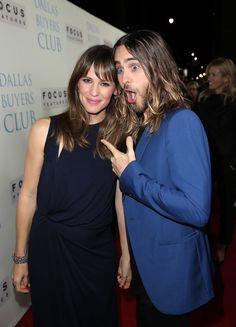 "Jennifer Garner with Jared Leto.- ""Dallas Buyers Club"" movie premiere, Academy of Motion Picture Arts & Sciences, Beverly Hills, L. Jared Leto Movies, Jennifer Garner Ben Affleck, Sydney Bristow, Jered Leto, Dallas Buyers Club, Shannon Leto, Save The Children, Three Kids, Gorgeous Men"