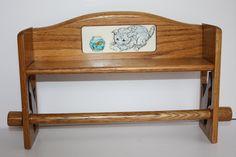 Vintage Solid Oak Wood Paper Towel Holder & Shelf w/Kitty Cat Cut-outs and Decorative Tile/Wooden Towel Rack/Bathroom Shelf/Towel Rack by DebiLynneVintage on Etsy