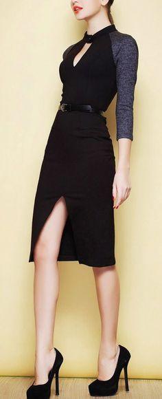 Office attire | Slit color block pencil dress | Just a Pretty Style