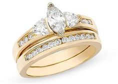 Ice Julie Leah 1 CT Diamond 14K Yellow Gold Set Of Wedding Band and Engagement Ring Set
