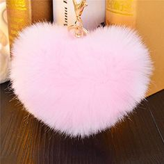 1 Heart Shape Ball Plush PomPom Car Keychain Handbag Key Ring Pendant  Jewelry Pink   Check 165f306b1a