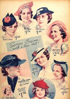 Spring begins with a new hat, 1930s. Vintage millinery, fashion advertisement.