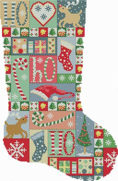 Vintage Patchwork Christmas Stocking Cross Stitch Patterns - Instant Download