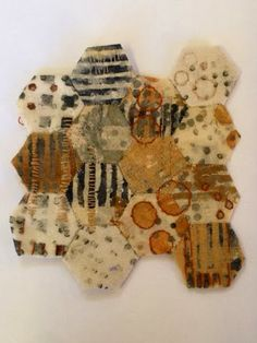 Julia Wright, rust dyed, printed and hand stitched patchwork. Reminds me of a honeycomb! Textile Fiber Art, Textile Artists, How To Dye Fabric, Fabric Art, Embroidery Fabric, A Level Textiles, Textiles Sketchbook, Tea Bag Art, Textiles Techniques