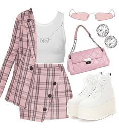 Discover outfit ideas for college made with the shoplook outfit maker. How to wear ideas for Eclypse platform sneakers and Pre-Owned Dior Rhinestone Logo Cute Casual Outfits, Girly Outfits, Mode Outfits, Retro Outfits, Stylish Outfits, Vintage Outfits, Clueless Fashion, Kpop Fashion Outfits, 2000s Fashion
