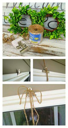 Hang wreaths from bulldog hooks clipped to the vinyl trim on the exterior of a window = Down to Earth Style