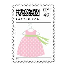 Pink Dress Baby Shower Stamps. This is customizable to put a personal touch on your mail. Add your photos or text to design your own stamp that can be sent through standard U.S. Mail. Just click the image to try it out!