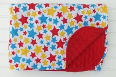 Flannel and Minky Baby Blanket Yellow Red Blue by BlackKatStudio