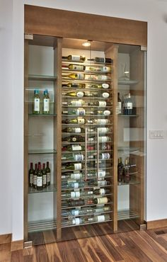 Creative DIY Wine Racks for Your Collection- Creative DIY Wine Racks for Your Collection love the glass built in contemporary lights - Glass Wine Cellar, Home Wine Cellars, Wine Cellar Modern, Wine Rack Design, Wine Cellar Design, Bar Sala, Wine Display, Wine Wall, Wine Cabinets