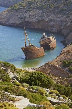 """Wreck of the boat from """"The Big Blue"""" movie shot in Amorgos island"""