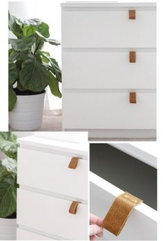 Leather DIY-handle for chest MALM