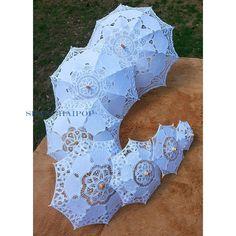 Women Girl Lace Sun Umbrella Parasol Brolly Dome Craft Bride Wedding Party White   eBay