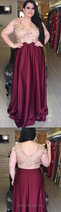 Plus Size Prom Dresses, Long Prom Dresses, Red Prom Dresses 2018, A-line Prom Dresses V-neck, Silk-like Satin Prom Dresses Beading #plussizedresses