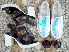 Fashion Is Our Religion: Fashion // ASOS Haul  Holographic slip on trainers and monochrome cleated sandals - perfection!