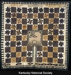 A Coffin Quilt for the Kentucky Historical Society, mid-1800s. Coffin quilts have little coffins with the names of relatives on them.