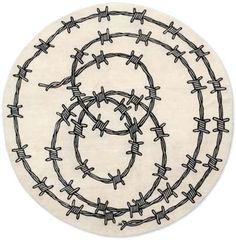barbed wire, round carpet, contemporary round carpet, wire carpet