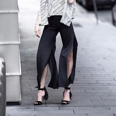 The person who invented the side cut pants is a genius   @alegallery  #cutpants #streetstyle #stylegram #streetfashion #movement #flares
