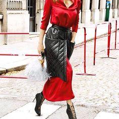 Streetstyle in Paris: Ulyana Sergeenko dress and skirt, Ulyana Sergeenko Couture bag