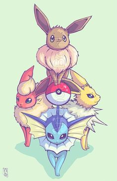 original eeveelutions fanart, featuring eevee, flareon, espeon and vaporeon 😍 these adorable pokemon will always have a special place in my heart ❤💙💛