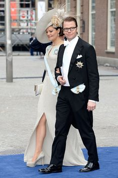 AMSTERDAM, NETHERLANDS - APRIL 30:  Crown Princess Victoria and Crown Prince Daniel of Sweden depart the Nieuwe Kerk to return to the Royal Palace after the abdication of Queen Beatrix of the Netherlands and the Inauguration of King Willem Alexander of the Netherlands on April 30, 2013  in Amsterdam, Netherlands.  (Photo by Pascal Le Segretain/Getty Images)