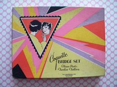 Vintage 1920's Bridge Set Coquette Flapper Ladies Tallies