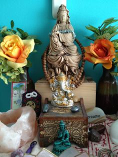 Chased by a Fire-red Fox - duskenpath: Lotus altar with a brand new Ganesha...
