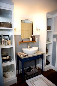 these would be a fun style of built ins for my small bathroom