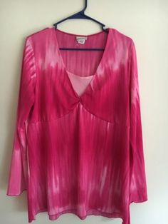 Fashion Bug Women's Plus 18/20 Pink Long Sleeve Blouse Top 1X | eBay