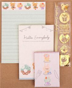 kawaii bear cupcake mini Letter Set from Japan 3