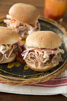 Slow Cooker Pulled Pork Sandwiches and Buttermilk Coleslaw on PaulaDeen.com #pauladeen