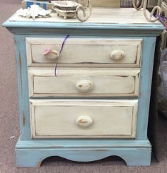 $49.00 Fabulous 2 drw French Blue/White Side Table found in Marietta on Sunday 9/21! At A Classy Flea (Q) 1355 Roswell Rd (770)579-2555