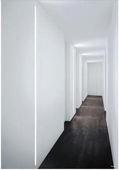 Slot Recessed Wall Light - Fontana Arte The light just pulls the eye down the hallway... beautiful effect!