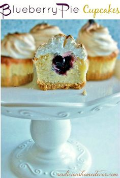 Best Blueberry Pie Cupcakes with meringue topping! sewlicioushomedecor.com
