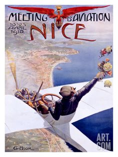 Meeting d'Aviation, Nice, 1910 Giclee Print by Charles Leonce Brosse at Art.com