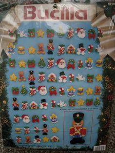 Christmas Bucilla FELT Applique Holiday ORNAMENT KIT,TRIM-A-TREE,Set of 75 #Bucilla