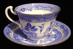 Blue Willow Cup And Saucer Royal Grafton Willow 1940s Bone China Teacup
