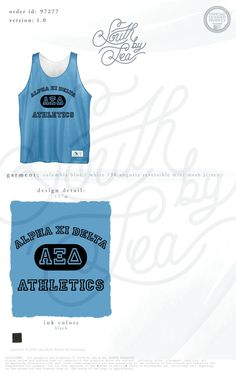Alpha Xi Delta | AXD | Sorority Athletic Jersey | Sorority Basketball Jersey | South by Sea | Sorority Shirts | Sorority Tanks | Greek Shirts