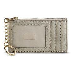 Women's Metallic Credit Card Holder with Zipper Closure