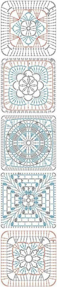 Crochet : Afghan Square - Chart ❥ 4U // hf http://www.pinterest.com/hilariafina/