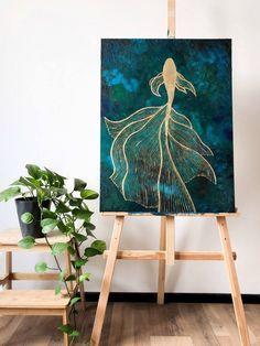 Small Canvas Art, Diy Canvas Art, Acrylic Painting Canvas, Canvas Art Paintings, Fish Paintings, Gold Acrylic Paint, Portrait Paintings, Indian Paintings, Abstract Paintings
