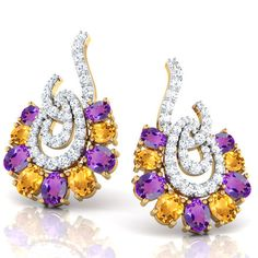 Glam Amethyst & Citrine Earrings