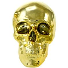 Gold Skull Money Bank   shop.behindthemonkey.com