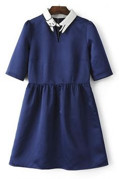 Contrast Cat Embroidery Collar Half Sleeve Mini Dress - Beautifulhalo.com