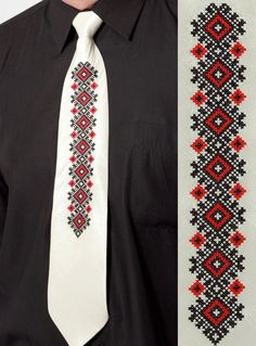 White tie with traditional embroidery Cross Stitch Art, Cross Stitching, Cross Stitch Embroidery, Hand Embroidery, Cross Stitch Patterns, Ethno Style, Palestinian Embroidery, Cross Stitch Finishing, Women Ties