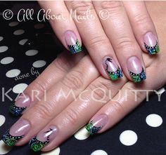 Blue and green sculpted gel nails with free hand art done by Kari at All About Nails & Training.  www.allaboutnails.org