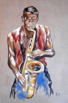 Tableau Musicien Saxophoniste sur toile de lin : Peintures par peintures-axelle-bosler