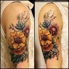 Flowers tattoo by Kristen Goetz #yestattoo http://tattooesque.com