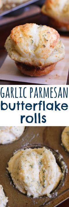 Shortcut Garlic Parmesan Butterflake Rolls