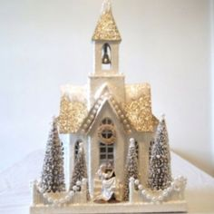 Christmas Houses - Cody Foster Glitter Chapel  - Bride & Groom