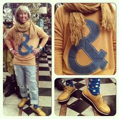 """Linda rockin our new """"&"""" Mustard Sweater ($60) with Boyfriend jeans, polka dot knee highs, and mustard oxfords! Fabulous for all of you teachers out there!!!"""